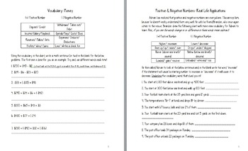 Positive & Negative Numbers: Common Core word problems, tasks, and activities