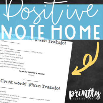 Positive Note Home (Bilingual: English & Spanish)