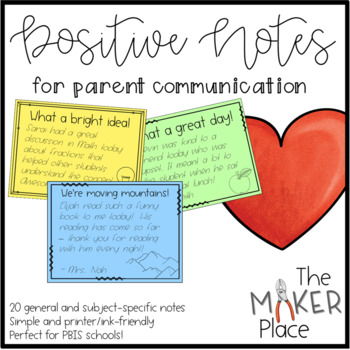 Positive Notes to Send Home to Parents