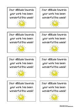 Positive Notes Brag Tags for students