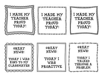 Positive Notes Home: Behavior/Classroom Management