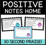 Positive Notes Home-  Parent notes for positive behavior- Owls Theme