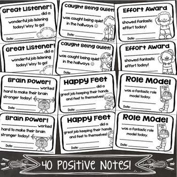 Positive Notes Home Parent Teacher Communication Forms Handouts Editable