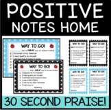 Positive Notes Home / Parent Notes Home for Positive Behavior
