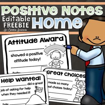 Positive Notes Home Parent Teacher Communication Editable FREEBIE