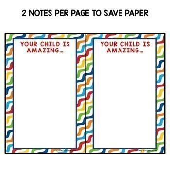 Positive Notes Home to Parents - Rainbow Colors