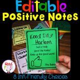 Editable Positive Notes / Rewards / Parent Communication Notes