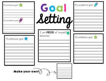 Positive Notes and Goal Setting (Target Label Pockets) Editable