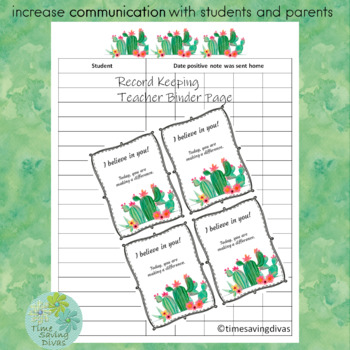 Positive Notes for Celebrating Positive Behavior Cactus Theme