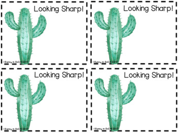 Positive Behavior Notes for Students  Cactus-Themed