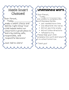 Positive Notes to Parents