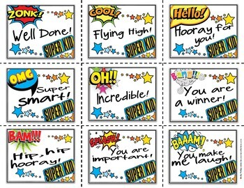 Kindness Cards: Random Acts of Kindness [Notes to Students] Superhero Theme