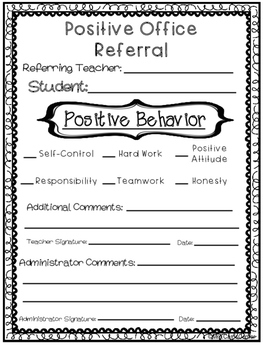 Positive Office Referral Form by Mrs Carr's Corner | TpT
