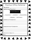 Positive Office Referral Form aligned to Responsive Classroom