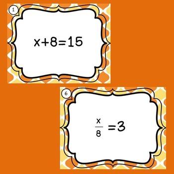 Positive One-Step Equation Task Cards