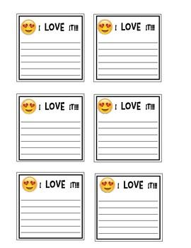 Positive Open-Ended Sticky Note Messages: I Love It! (Emoji)