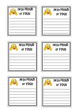 Positive Open-Ended Sticky Note Messages: I'm So Proud of You (2)--Emoji
