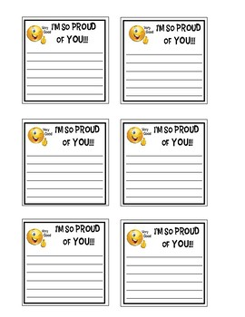Positive Open-Ended Sticky Note Messages: I'm So Proud of You (3)--Emoji