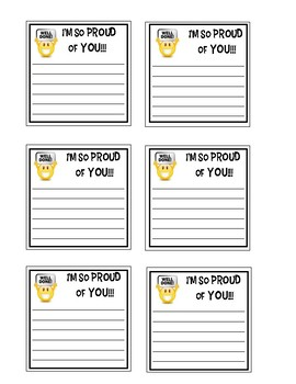 "Positive Open-Ended Sticky Note Messages: I""m So Proud of You Emoji!"