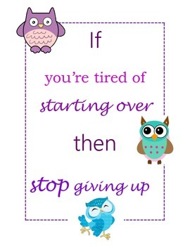 Positive Owl Quote Posters