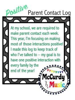Positive Parent Contact Log