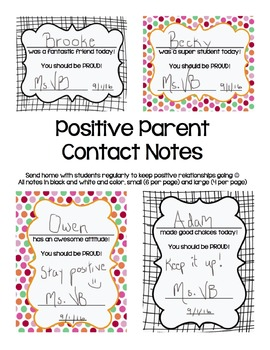 Positive Parent Contact Notes