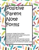 Positive Parent Note Forms