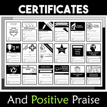Positive Praise Brag Tags and Certificates