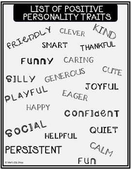 Positive Personality Traits ESL - Definitions-Worksheets-Fill in the blank