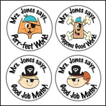 Pirate Theme Stickers - Personalized for Your Classroom