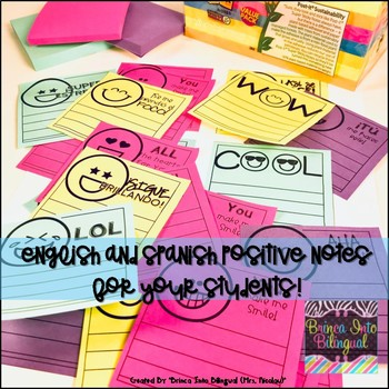 Positive Post-Its Notes ENGL & SPAN