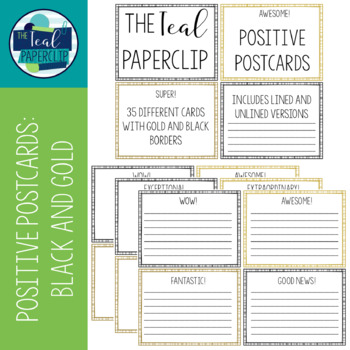Positive Postcards: Black and Gold
