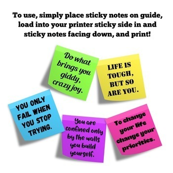Positive Growth Mindset Sticky Note Templates (Back to School)