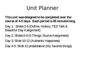 Positive Psychology Mini-Unit