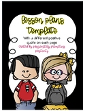 Positive Quote Lesson Plan Template