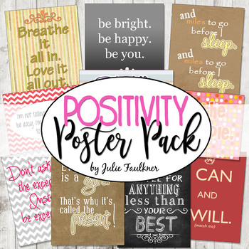 Positive Inspirational Quotes Posters Set 10 Back To School Test Time
