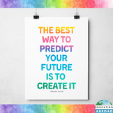 Abraham Lincoln Quote Poster, Inspirational Class Decor, Rainbow Theme