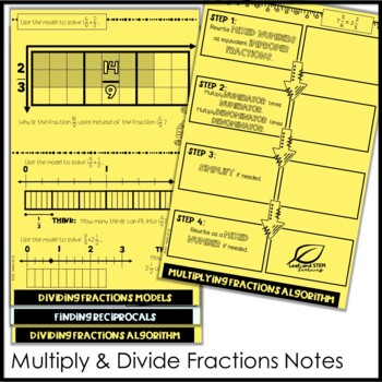 Positive Rational Number Operations Interactive Notebook Set