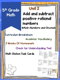 Positive Rational Numbers Adding and Subtracting Whole Numbers and Decimals