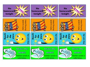Positive Reinforcement COLOR coupons for Middle & High School students