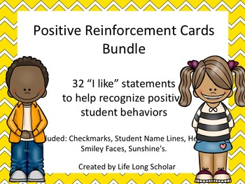 Positive Reinforcement Cards BUNDLE- 32 I Like statements