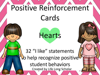 Positive Reinforcement Cards Hearts- 32 I Like statements