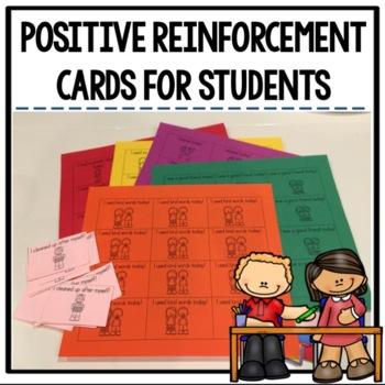 Positive Reinforcement Cards for Student Behavior