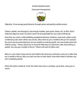 Positive Reinforcement, Classroom Behavior