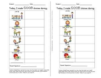 positive reinforcement individual student behavior contract with pictures