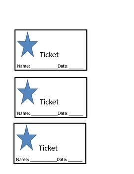 Positive Reinforcement Star Tickets