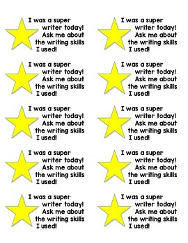 Positive Reinforcement Student Stickers: Writing