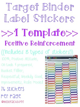 Positive Reinforcement Stickers (Target Binder Label Template)
