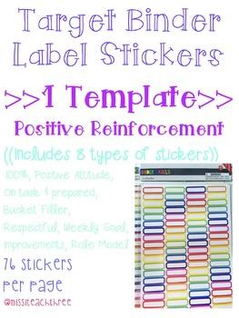 Positive Reinforcement Stickers (Target Binder Label Template)