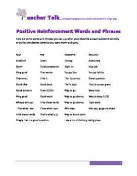SCORE WELL ON YOUR TEACHER EVALUATION Positive Reinforcement Words and  Phrases